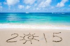 沙滩上的2015图片