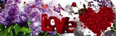 LOVE花朵装饰画