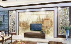 黄色玉石雕刻背景墙设计素材