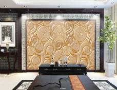 圆环花纹浮雕背景墙