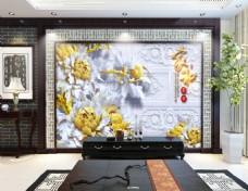 花卉凹凸浮雕背景墙