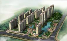 房地产楼盘建筑设计鸟瞰效果图片