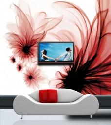 抽象花瓣背景墙