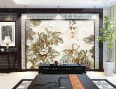 花卉浮雕背景墙