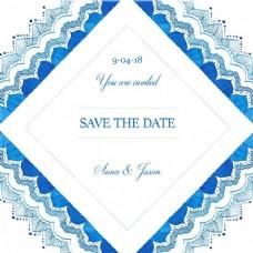 蓝色水彩婚礼请柬