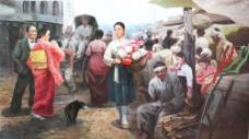 韩国人物生活油画图片