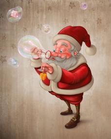 吹泡泡的圣诞老人图片