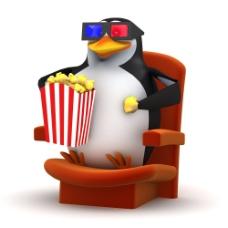 吃爆米花看电影的企鹅图片