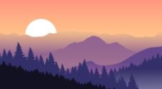 落日风景插画