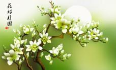 绿色花卉背景墙