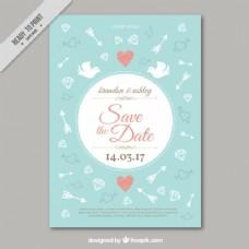 美丽的老式婚礼卡与图纸