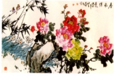 水墨国画牡丹中堂画图片