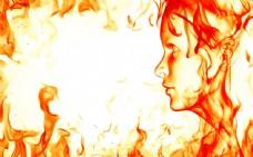 梦幻火焰美女背景图片