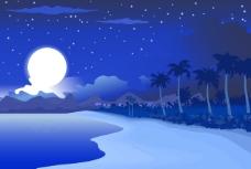午夜的蓝色海滨景观