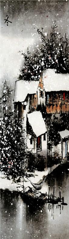 冬日里的村落装饰画