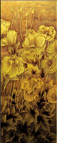 金色花瓣装饰背景墙