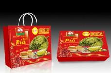 榴莲饼包装盒包装袋设计展开图