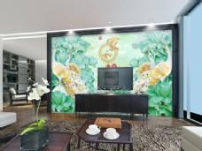 绿色玉石雕刻电视背景墙设计素材