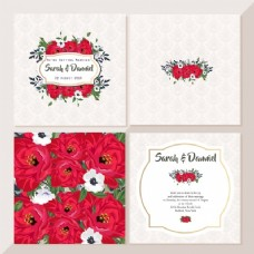 可爱的红色婚礼卡片