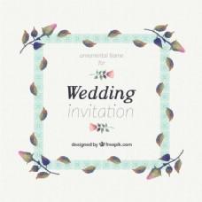 装饰婚礼邀请与水彩树叶老式风格