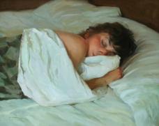 睡觉的美女油画图片