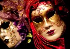 高清威尼斯美女面具摄影图片