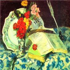 油画花朵书本装饰画