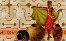 陶罐生活装饰背景墙