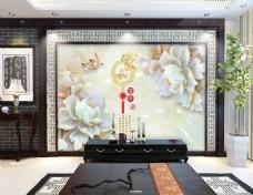 富贵玉雕电视背景墙设计素材模板