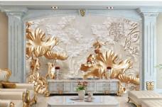 浮雕荷叶装饰背景墙