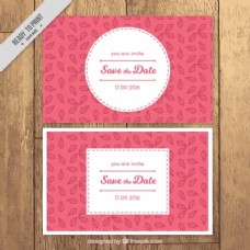 带有叶子细节的婚礼卡片