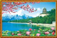 湖泊山水风景中堂画图片图片