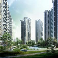 小区建筑景观效果图片