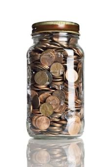 瓶子里的硬币图片