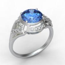 华丽蓝宝石戒指图片