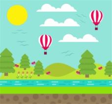 创意郊外热气球和河边风景矢量素材
