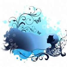 水疗主题蓝色女孩与漩涡花