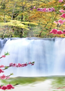 花朵瀑布装饰画