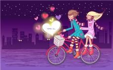 骑自行车的情侣装饰画