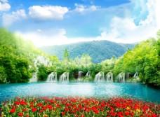 绿色自然风景装饰画