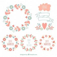 花圈在复古风格的婚礼
