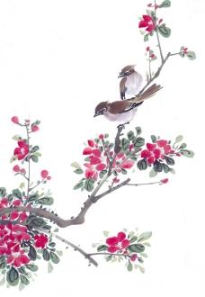 国画树枝与鸟图片