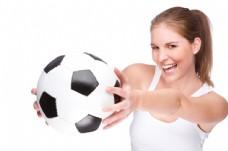 手拿足球的时尚美女图片