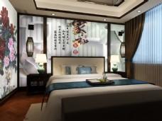 中国风卧室背景墙设计素材