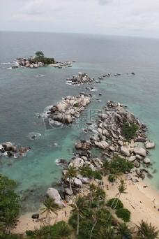 自然,海滩,悬崖,海岸,印度尼西亚,勿里洞