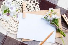 美丽鲜花与卡片图片