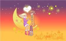 坐在月亮上的情侣装饰画