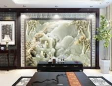 玉石雕刻时尚电视背景墙设计素材