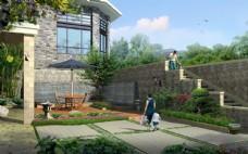别墅园林景观效果设计图片