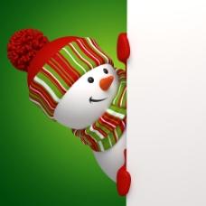 牌子后面的雪人图片